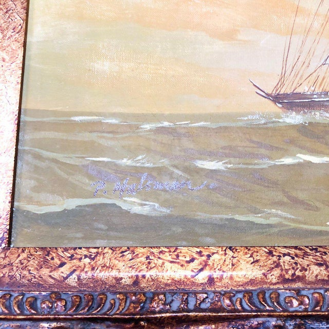 1960s Vintage Captain and Ship Nautical Framed Original Painting For Sale In Atlanta - Image 6 of 9