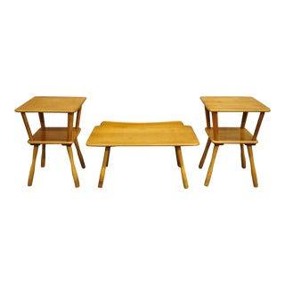 Vintage American Colonial 3 Piece Maple Wood Coffee Table End Table Set For Sale