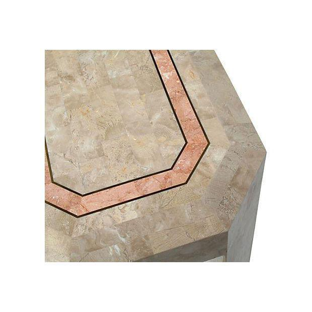 Hollywood Regency Tessellated Fossil Console Table with Brass Trim For Sale - Image 3 of 4