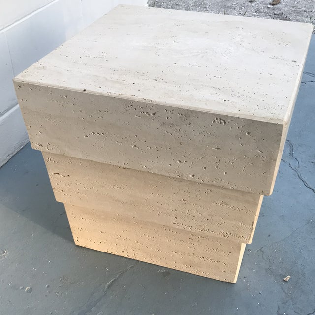 1970s Mid-Century Modern Stacked Travertine Occasional Table For Sale In Greensboro - Image 6 of 8