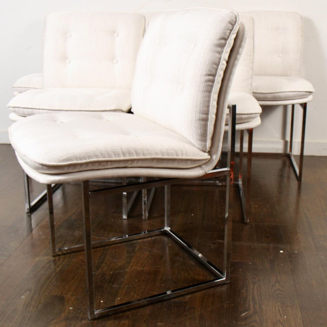 Set of six very clean 1970s vintage chrome dining chairs with equally clean vintage fabric. Milo Baughman (1923-2003) was...