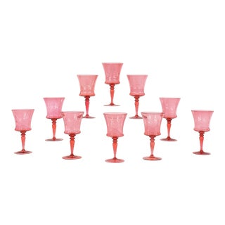 """Ten Steuben """"Gold Ruby"""" Handblown Crystal Goblets with Engraved Armorial Crest For Sale"""