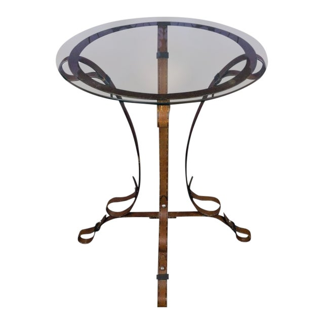 """Unique French """"Leather"""" Wrought Iron Table With Glass Top For Sale"""