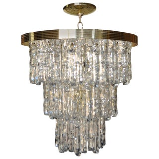 Kalmar Style Lucite Ice Waterfall Tiered Chandelier, Italy For Sale
