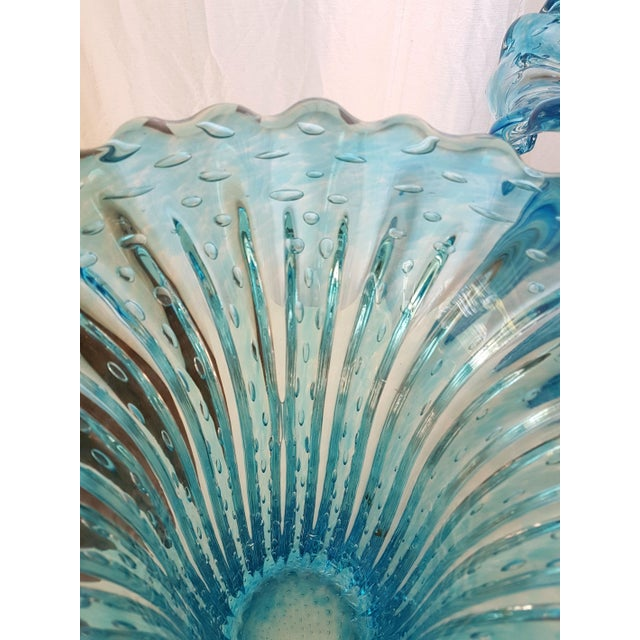 1970s Large Blue Murano Glass Mid Century Modern Vases, 1970's, by Barovier E Toso- a Pair For Sale - Image 5 of 9