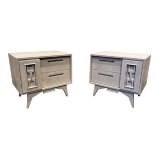 Pair of Mid Century Brutalist/Memphis Nightstands With Faux Concrete Finish For Sale
