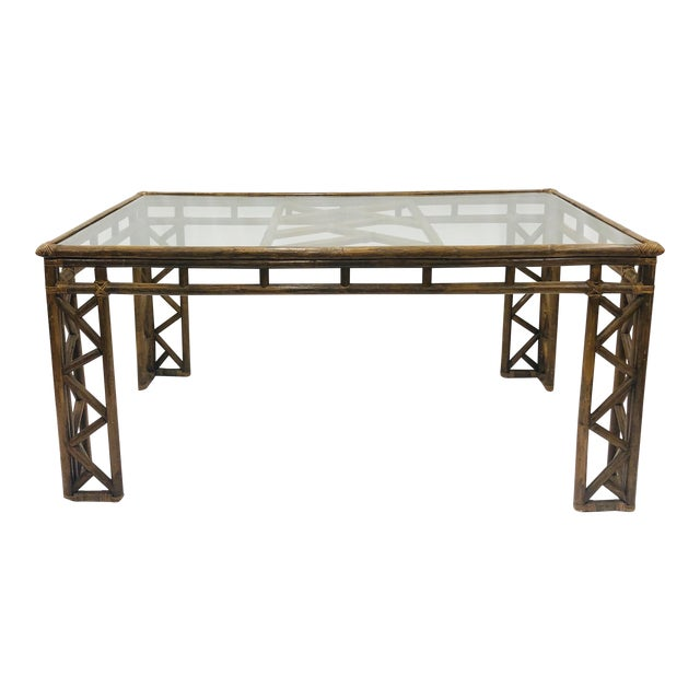 Vintage Chinese Chippendale Rattan & Glass Top Table For Sale