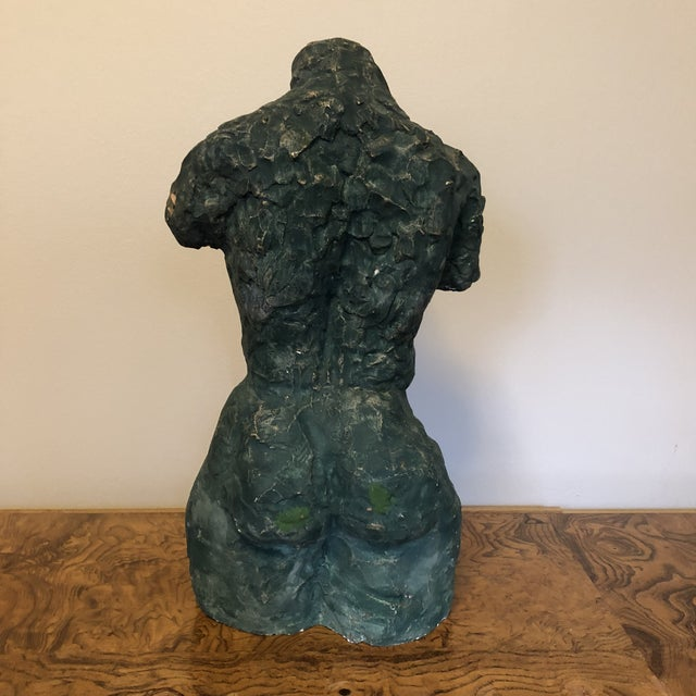 Mid-Century Verdigris Nude Bust Sculpture For Sale In Richmond - Image 6 of 11