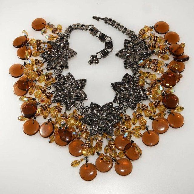 Modern Lawrence Vrba Huge Amber Glass Dangle Rhinestone Bib Necklace For Sale - Image 3 of 5