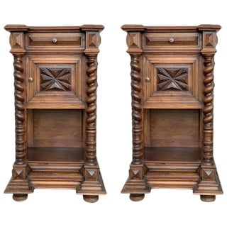 19th Pair of Solid Carved Brutalist French Nightstands With Solomonic Columns For Sale