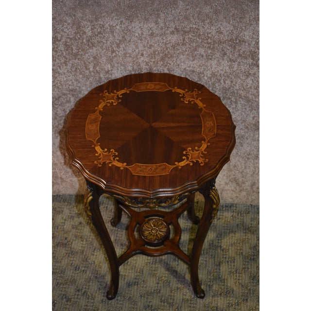1950s French Carved & Inlaid Accent Table For Sale - Image 9 of 13