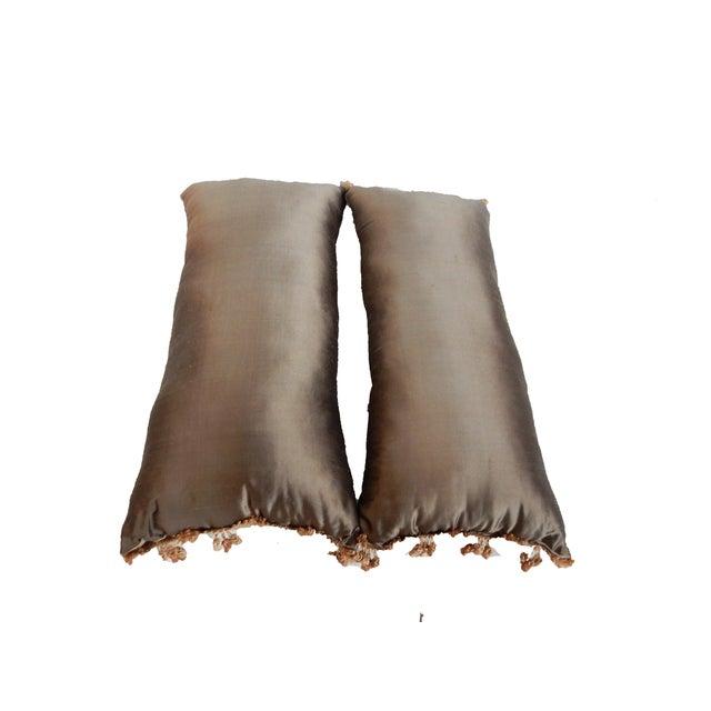 Custom Made Silk Lumbar Pillows - A Pair - Image 8 of 9