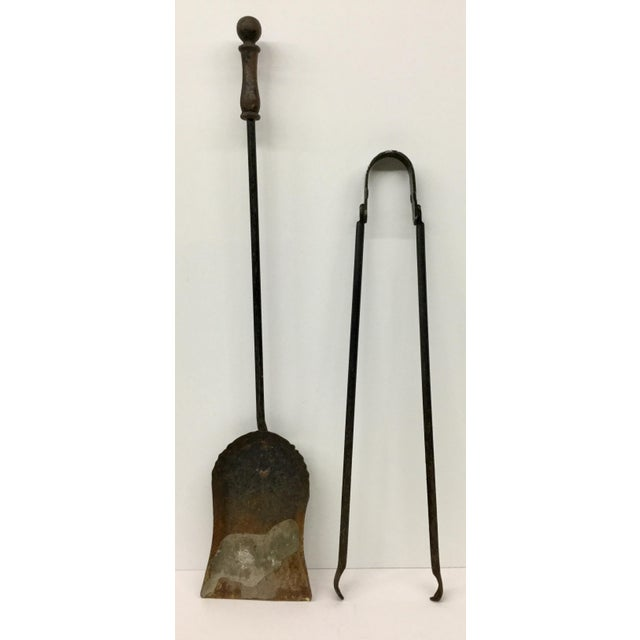 French Antique Wrought Iron Fireplace Tool Set - 2 Piece For Sale - Image 12 of 12