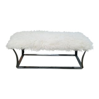 1970's Mid-Century Modern Chrome Flared Leg Bench With Sheepskin Upholstery For Sale