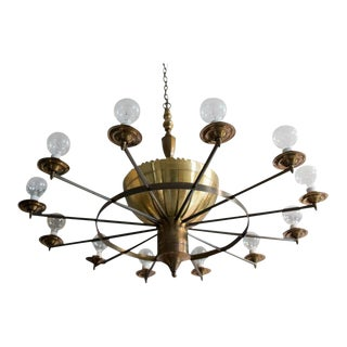 Twelve-Arm Brass Chandelier