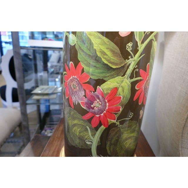 Decoupage Flower Lamp With Green Painted Shade For Sale - Image 11 of 12