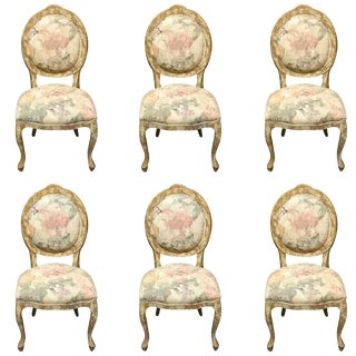 Floral Upholstered Dining Chairs - Set of 6