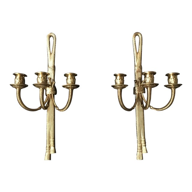 Neoclassical Brass 3 Arm Candle Wall Sconces - a Pair For Sale