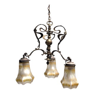 Antique Art Nouveau Brass 3-Shade Chandelier For Sale