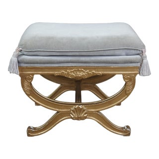 Vintage French Empire Regency Style Gold Vanity Stool For Sale