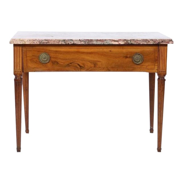 18th Century Italian Neoclassical Inlaid Marble Top Console For Sale