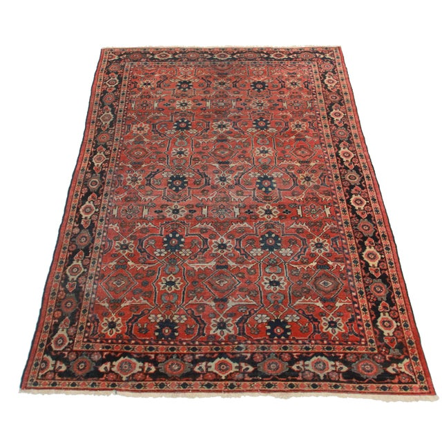 Antique Hand Knotted Wool Persian Mahal. Geometric design. Measures 6′11″ × 10′1″.