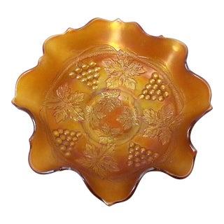 Vintage Orange Carnival Glass Bowl For Sale