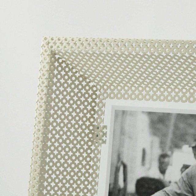 Mathieu Matégot Mathieu Mategot White Perforated Metal Picture Photo Frame For Sale - Image 4 of 6