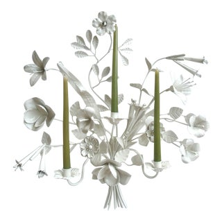 Tole Metal Floral Bouquet Wall Candle Sconce For Sale