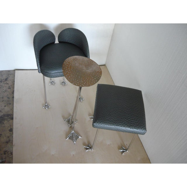 Studio Brass Ostrich Chair Bench Table Set For Sale - Image 10 of 12