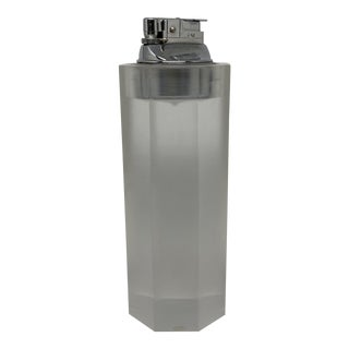 Vintage Opaque Lucite Faceted Table Lighter For Sale