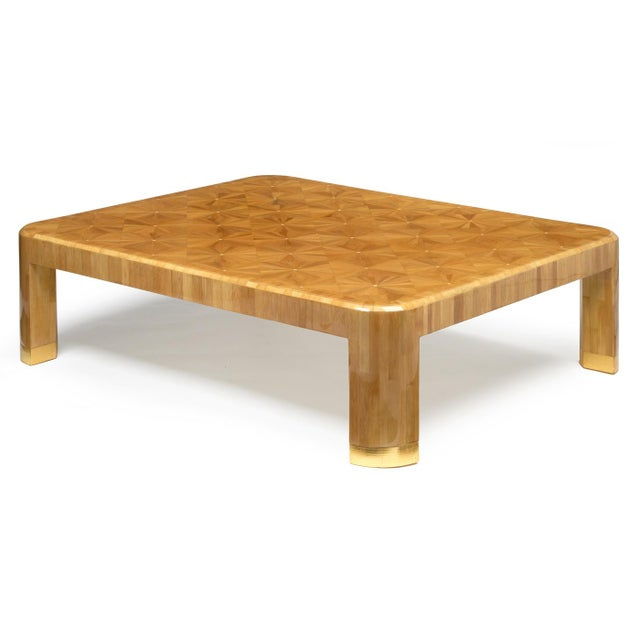 Luten, Clarey & Stern, Inc. Ron Seff Starburst Bamboo Marquetry Cocktail Table ca. 1980 For Sale - Image 4 of 10
