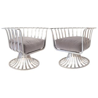 Russell Woodard Mid-Century Polished Aluminum Swivel Armchairs - a Pair For Sale