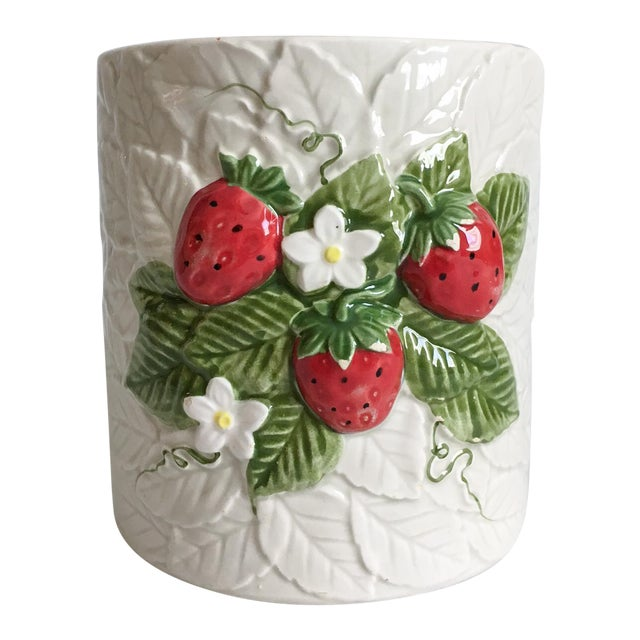 Strawberry Relief Ceramic Cachepot - Image 1 of 7
