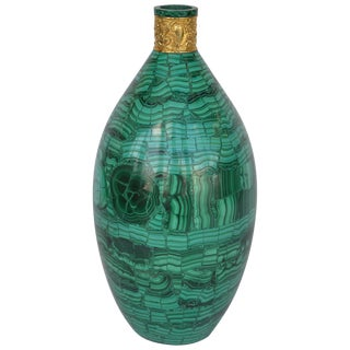 Malachite Vase With Bronze Accent For Sale