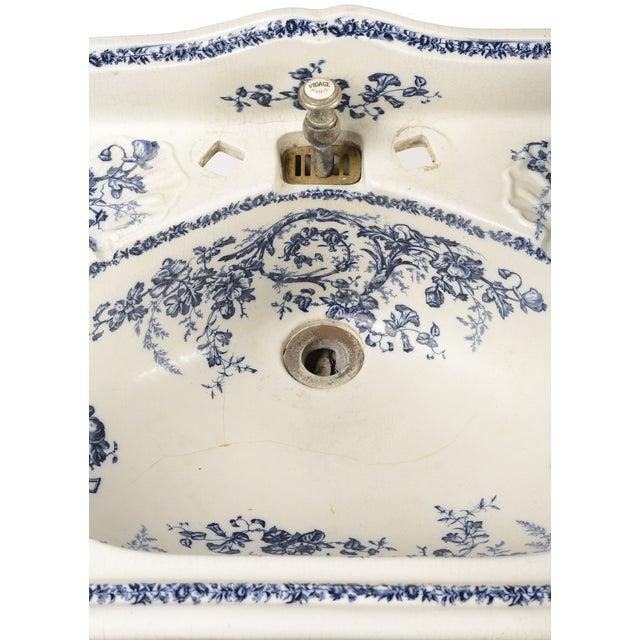 Porcelain Sink Basin With Blue Floral Pattern For Sale - Image 4 of 8