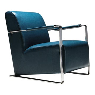 Modern Pasargad Luxe Collection Faux Leather Armchair For Sale