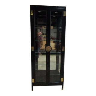 Mid-Century Asian Chinoiserie Crystal China Cabinet