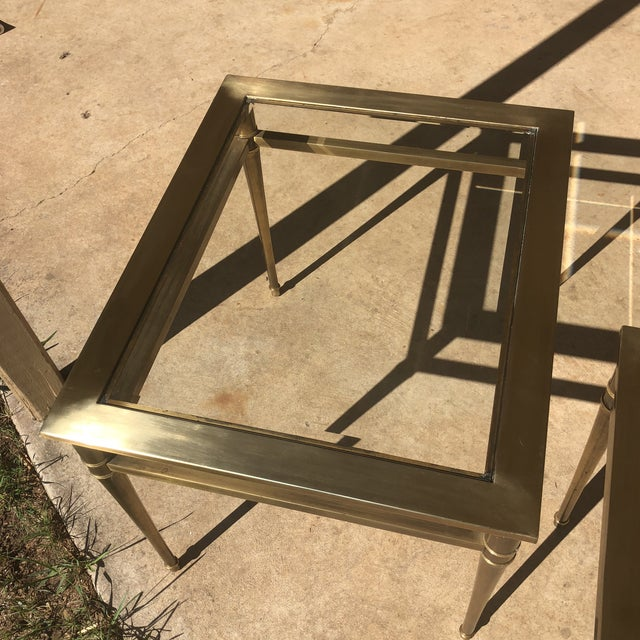 Glass Top Brass End Tables - a Pair For Sale - Image 4 of 13