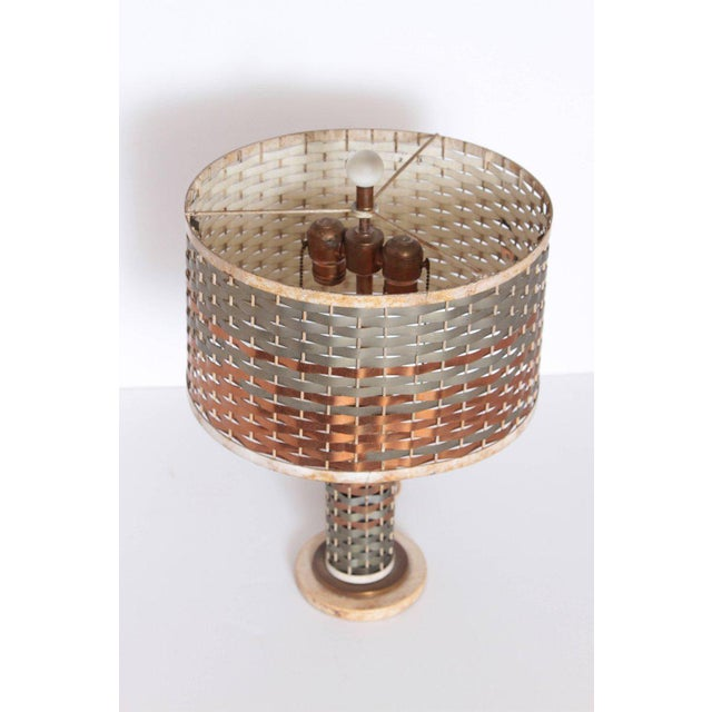 Copper Machine Age Art Deco Sandel Table Lamp, Mixed Metal, Lacquered Wood For Sale - Image 8 of 11