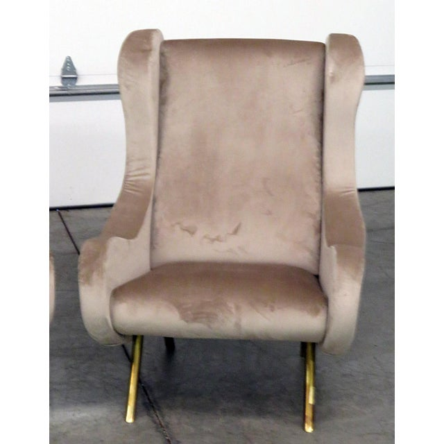 Italian Pair of Italian Modern Lounge Chairs For Sale - Image 3 of 9