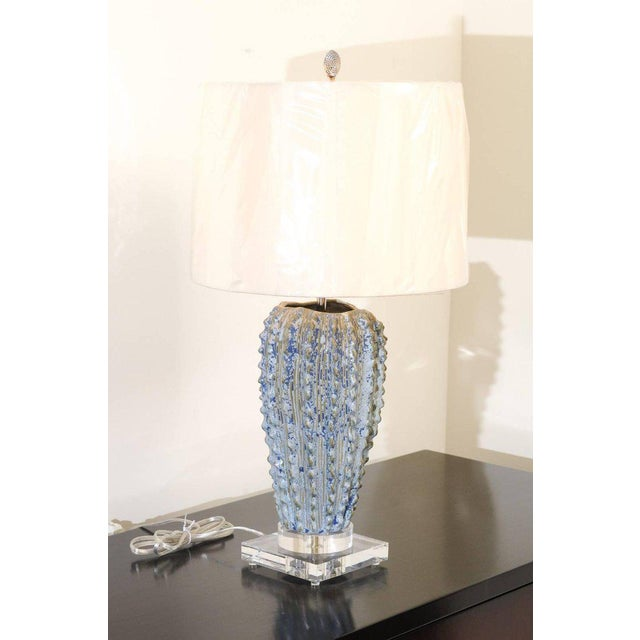 Fabulous Pair of Textured Portuguese Ceramic Vessels as Custom Lamps For Sale - Image 9 of 10