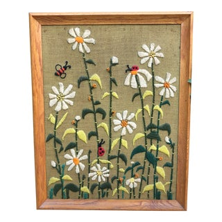 Mid-Century Modern Flowers Ladybugs Bumblebees Framed Crewelwork Textile Art For Sale