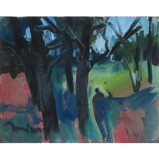 """""""Figure Walking Through Bare Trees"""" Contemporary Landscape Oil Painting by Jose Trujillo For Sale"""
