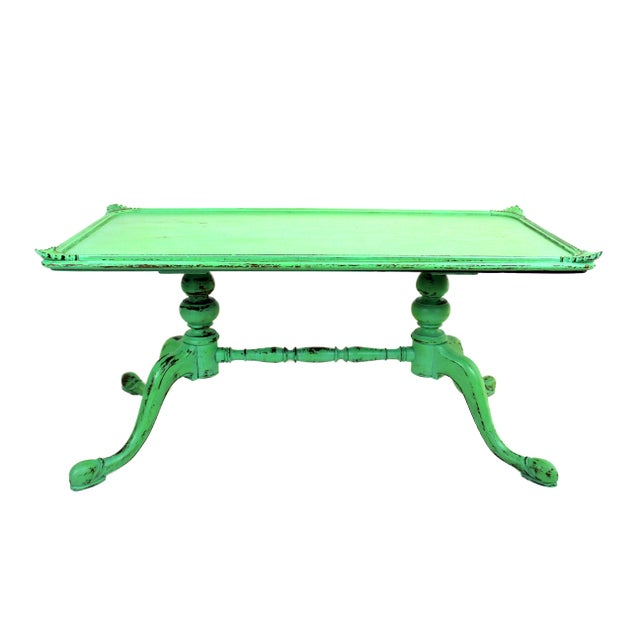 Wood Vintage Georgian Style Green Painted Coffee Table For Sale - Image 7 of 7