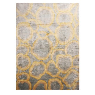 "Custom Metallic ""Bubbles"" Gold and Gray Matka Silk Rug - 10′ × 14′ For Sale"