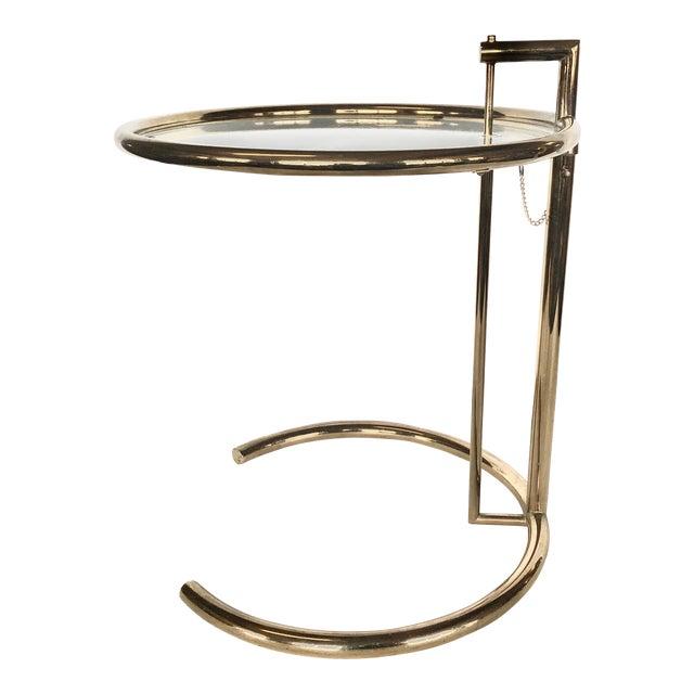 1970s Eileen Gray Modern Brass Side Table For Sale