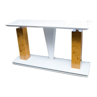 Modern Burled Wood and Lacquered Console Table For Sale