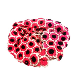 """Vintage Mid Century Hand Crocheted Hot Pink """"Flower Power"""" Daisy Afghan / Blanket / Throw For Sale"""