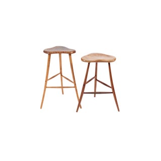 Carved Walnut and Maple Stools by Michael Elkan - a Pair For Sale